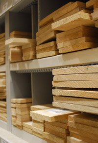 boards on shelves
