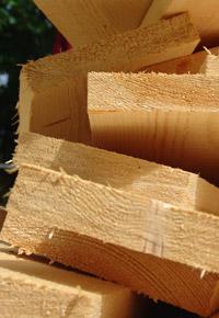 freshly cut wood boards