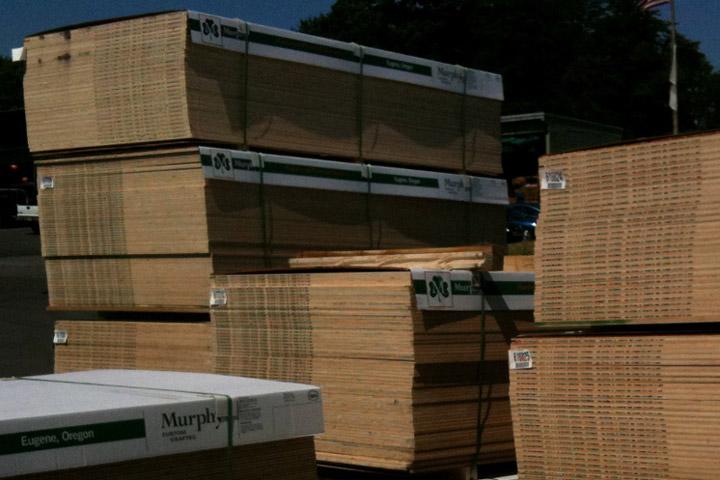plywood stacks and stacks